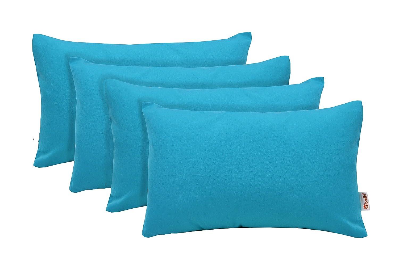 RSH D cor Set of 4 Indoor Outdoor Decorative Rectangle Jumbo 26 x 16 Lumbar Throw Pillows Sunbrella Canvas Aruba