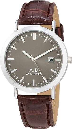 [アリアス] 腕時計 アナログ 革バンド 日付 メンズ グレー A48M04