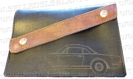 miglior servizio bd642 c86ef Portadocumenti porta libretto vera pelle auto Fiat 124 Spider obliquo