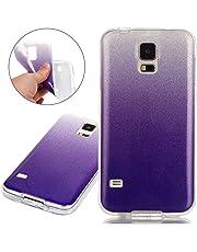 ISAKEN Compatibile con Samsung Galaxy S5 Custodia - Ultra Sottile Morbida TPU Cover Glitter Bling Custodia Case Gradient Protezione Posteriore Case Cassa Bumper[Shock-Absorption] - Violet