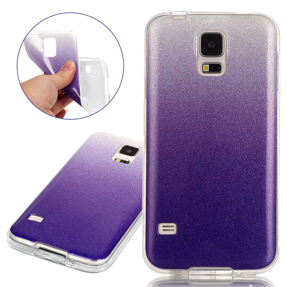 Samsung Galaxy S5 Cover Custodia Shock-Absorption Bumper Cover e Anti-Graffio Trasparente Ultra Slim Hard Back Case Soft TPU Cover ISAKEN Galaxy S5 Neo Custodia Flower Rosa