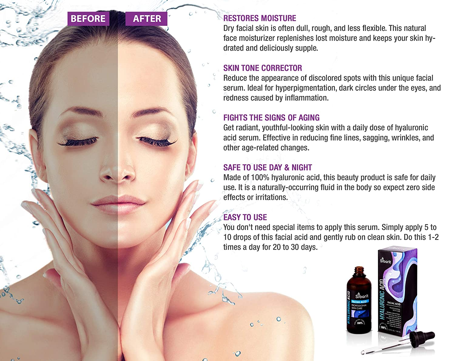 Hyaluronic Acid Moisturizer Serum Natural Skin Care Face Perfect Facial  Hydrating Vitamin Collagen