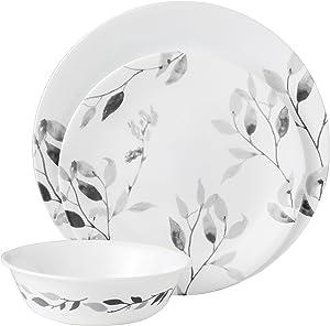 Corelle 12-Piece Vitrelle Misty Leaves Chip and Break Resistant Dinner Set, Grey