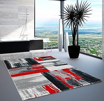 Teppich Modern Designer Wohnzimmer Shake Farbverlauf Rot Grau 200x290 Cm