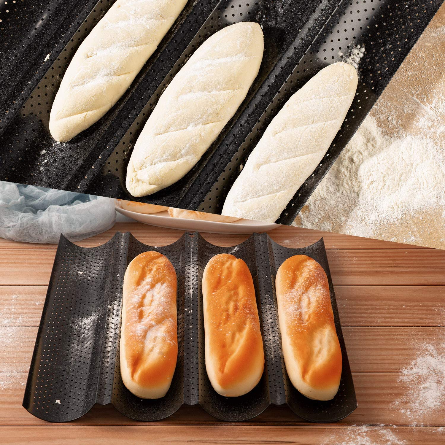 Perforated Baguette Baking Tray Non Stick French Stick Baking Molds Pan 15 x 13 for French Bread Baking 4 Wave Loaves Loaf Bake