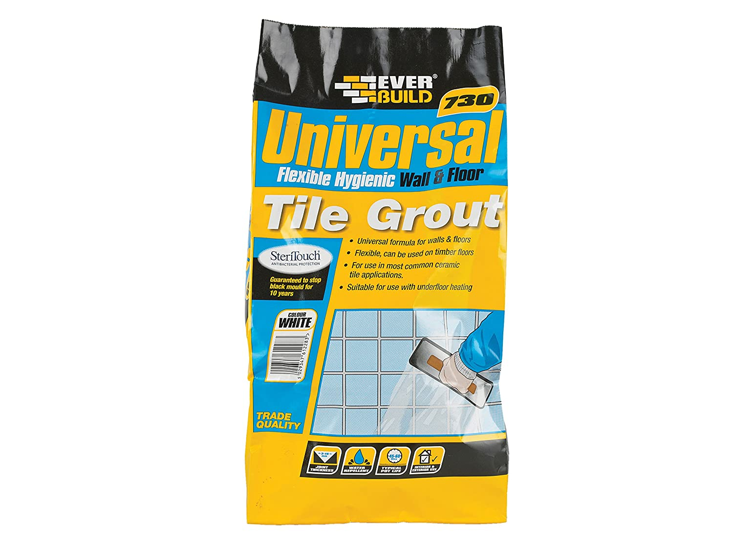Everbuild UNIFLEX5IV 730 Universal Flexible Hygienic Wall and Floor Tile Grout, Ivory, 5 kg