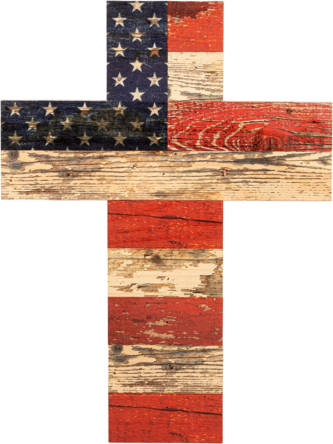 P. Graham Dunn American Flag Patriotic Red White and Blue Crackled Design 14 x 10 Wood Wall Art Cross