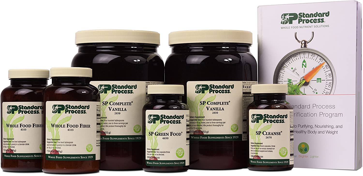 Standard Process Purification Kit with SP Complete Vanilla and Whole Food Fiber - Weight Management and Detox and Liver Support with Milk Thistle, Whey Protein, Fiber, Choline, and Calcium