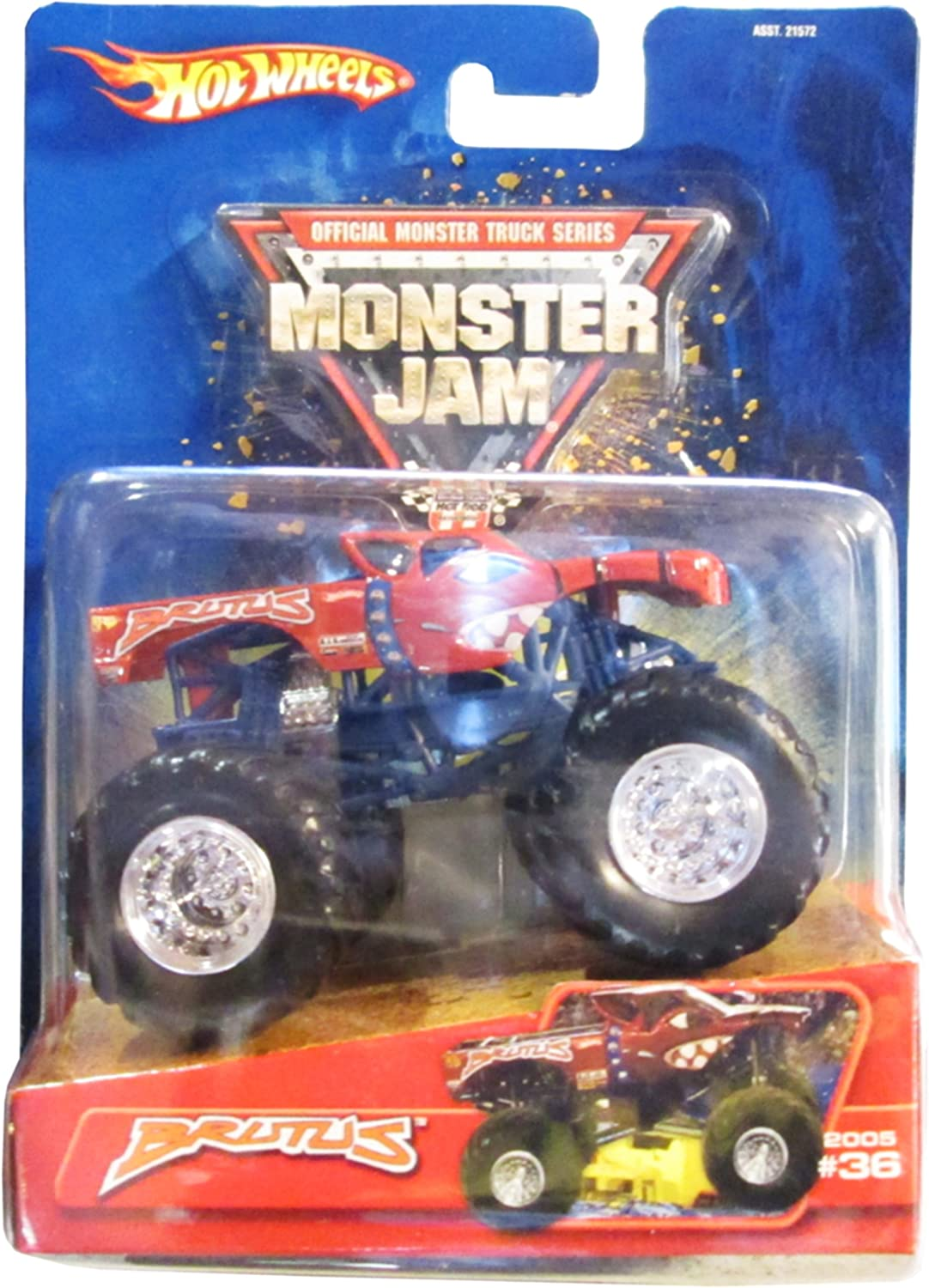 Amazon Com Hot Wheels 2005 Mattel Rare Monster Jam Brutus Monster Truck Diecast 36 Toys Games