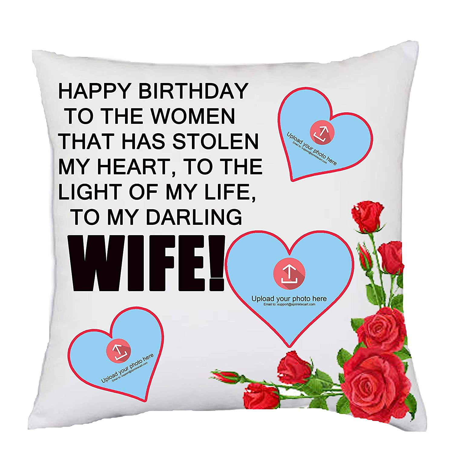 Buy Sprinklecart Happy Birthday Wishes To Wife Pillow Gifts 15 X 15 With Filler Insert Online At Low Prices In India Amazon In