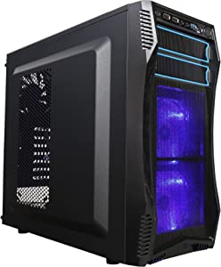 ROSEWILL ATX Mid Tower Gaming Computer Case, Gaming Case with Blue LED for Desktop / PC and 3 Case Fans Pre-Installed, Front I/O Access Ports(CHALLENGER S)