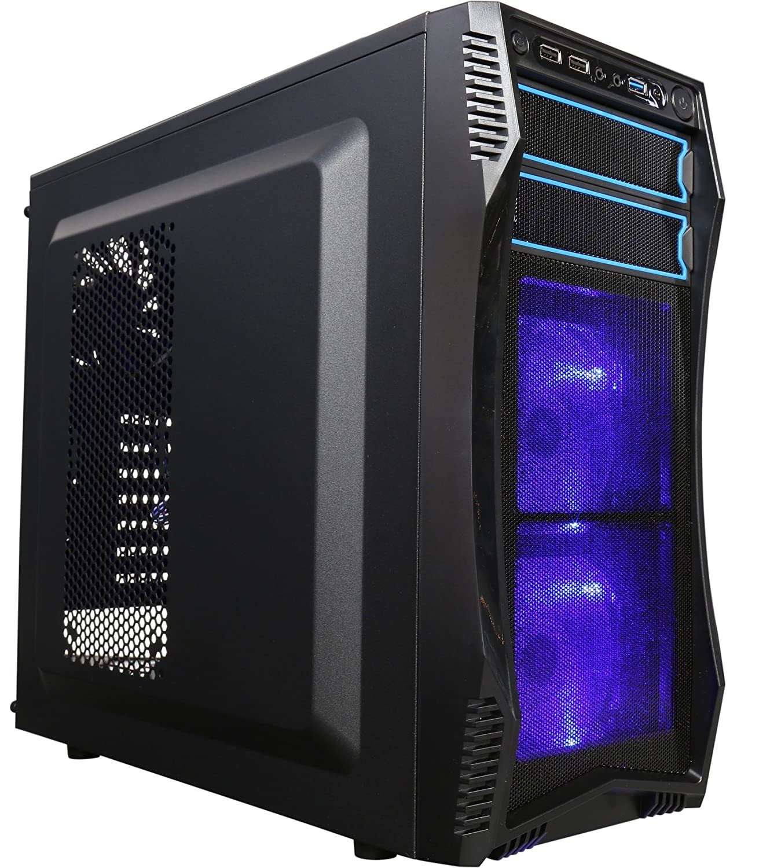 Rosewill Funda para ordenador con ventilador LED azul para PC con panel lateral de ventana y 3 ventiladores preinstalados, 2 puertos USB 3.0, ...