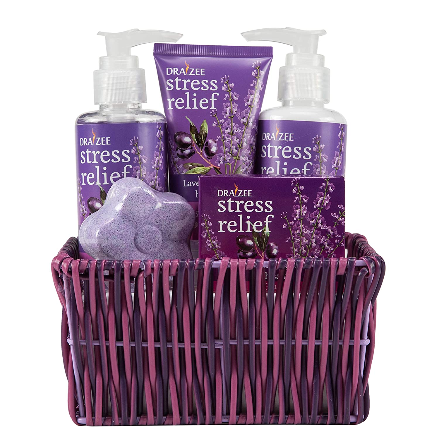 Draizee Spa Luxurious Home Relaxation Lovely Fragrance Gift Bag for Woman (Lavender and Grape, 5 Pieces) - #1 Best Christmas Gift for Women