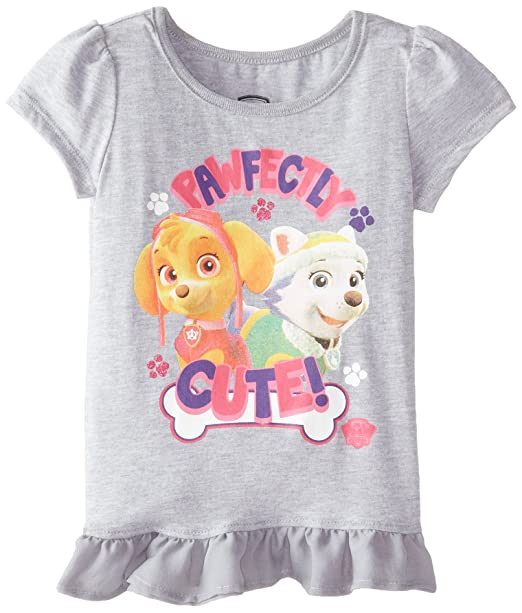 4681b157 FREEZE Little Girls' Paw Patrol Group Toddler Girl Short Sleeve Top,  Heather Grey,