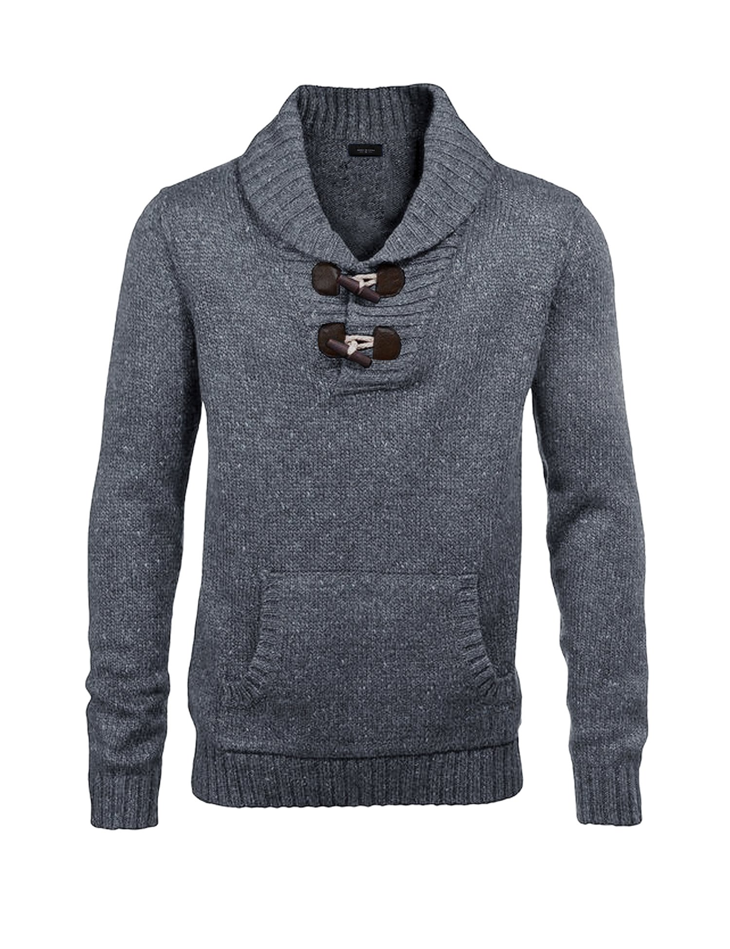 Jinidu Men's Knitted Slim Fit Shawl Collar Sweater Long Sleeve Pullover