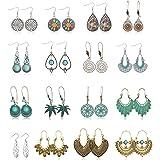 Hanpabum 16pairs Vintage Statement Earrings Bohemian Ethnic Style Drop Dangle Earrings Hollow Waterdrop Heart Leaf Shaped All