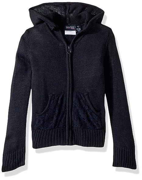 e7626b4686 Nautica Girls' Little School Uniform Hooded Sweater, Navy/lace Pocket,  Large(