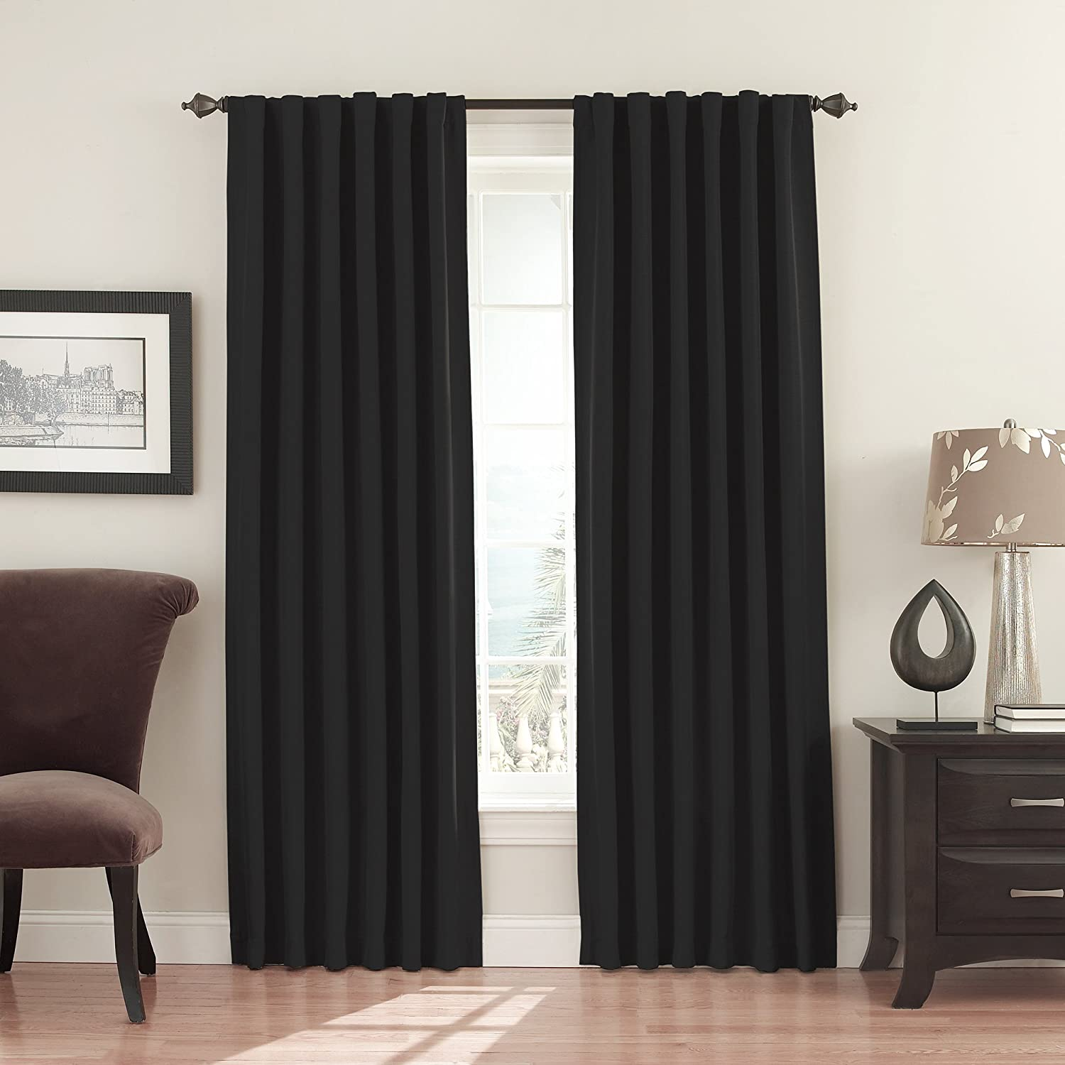 Eclipse Fresno Blackout Window Curtain Panel, 52 x 63-Inch, Black