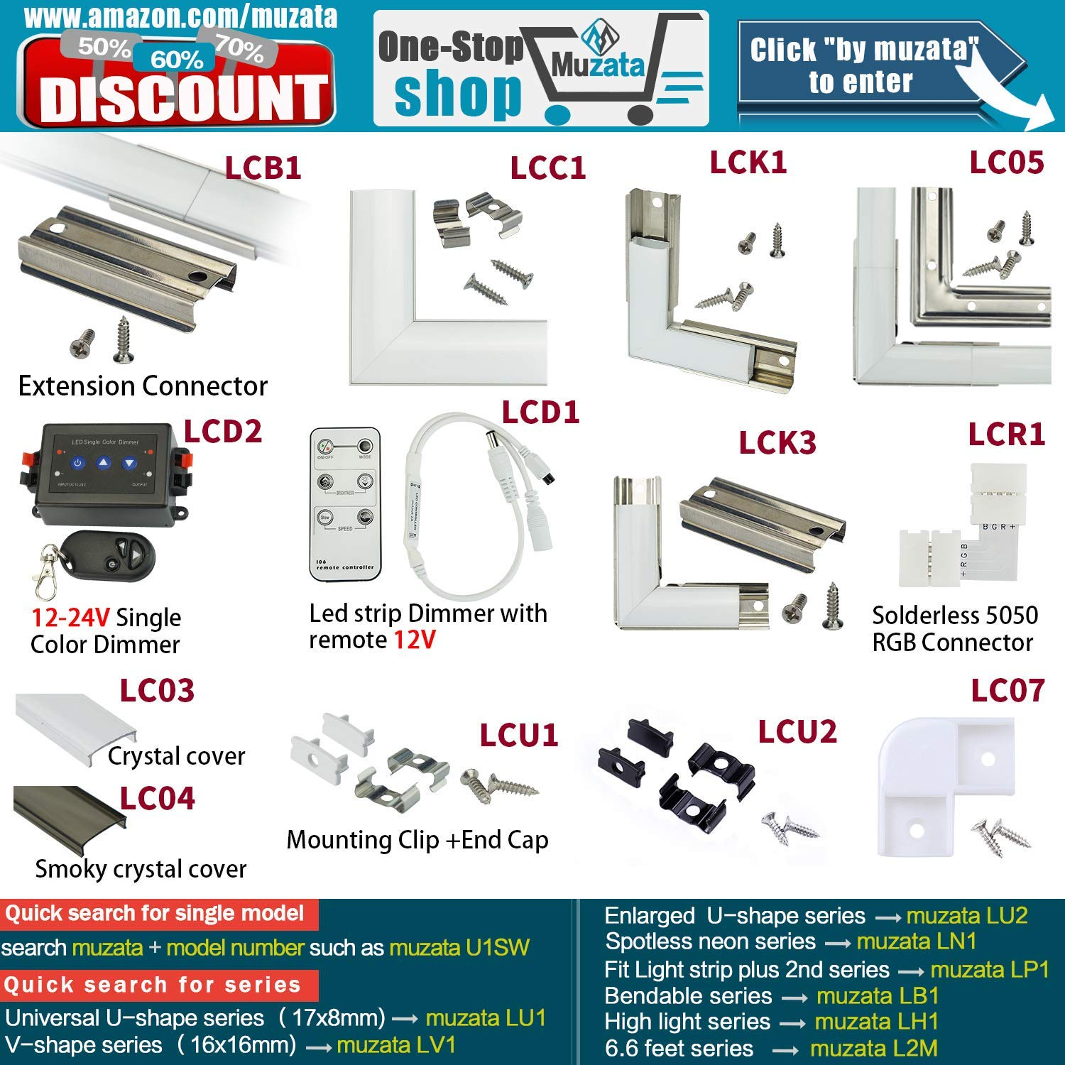 Case of 60 LCU2,Series LA1 Muzata LED Channel Mounting Clips and End Caps Suit for Most U Shape Aluminum Channel in The Market