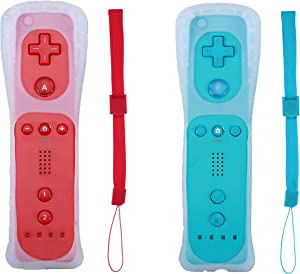 Poglen 2 Packs Wireless Gesture Controller Compatible for Wii Wii U Console (Red and Blue)