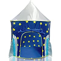 USA Toyz Rocket Ship Play Tent for Kids - Indoor Pop Up Playhouse Tent for Boys and Girls with Included Space Projector…