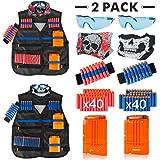 Little Valentine 2 Sets Kids Tactical Vest Kit for Nerf Guns N-Strike Elite Series , 2 Pack Tactical Vest Jacket with 2 Wrist Bands, 2 Quick Reload Clips, 2 Protective Glasses, 2 Face Mask, 80 Bullets