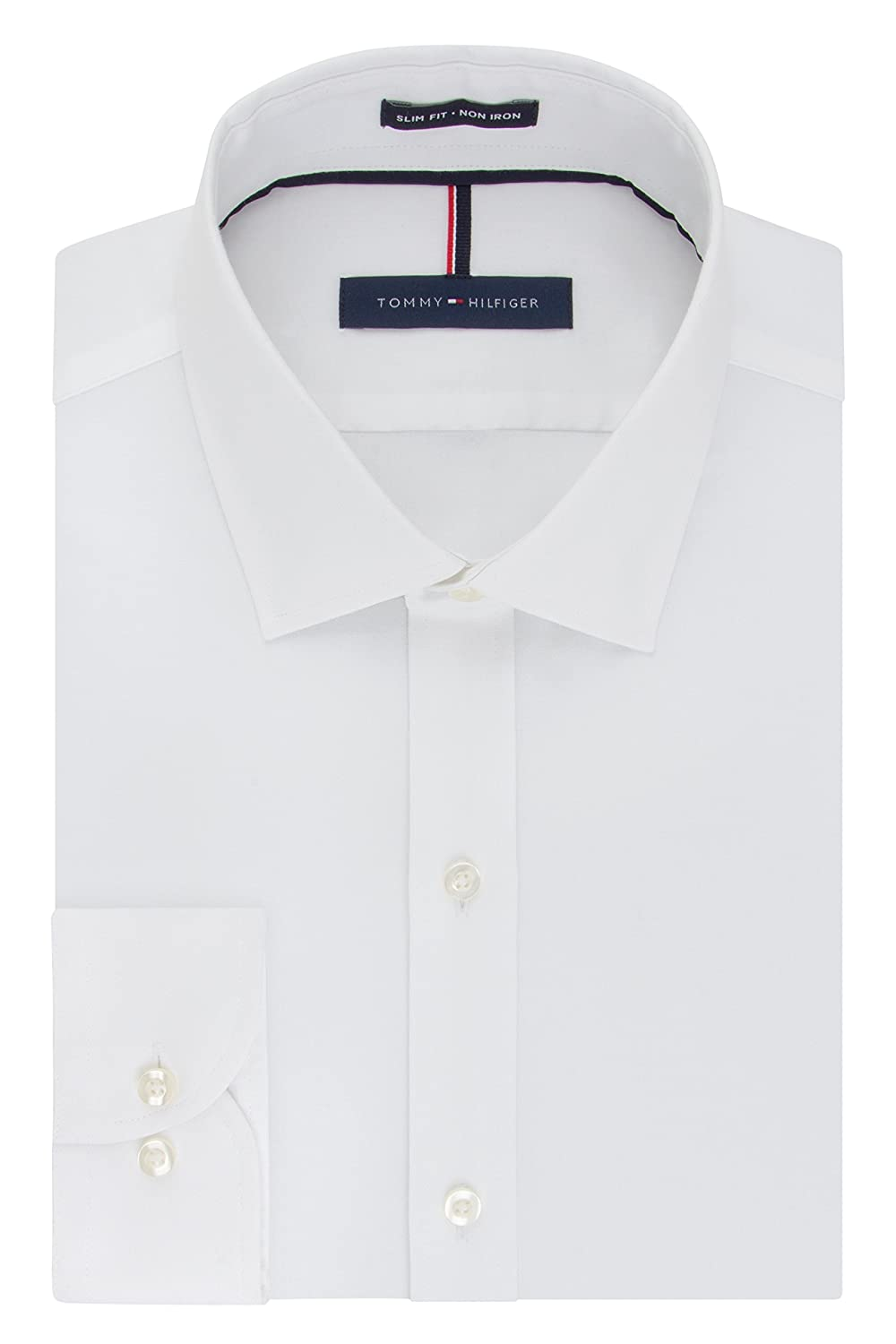 Tommy Hilfiger Mens Dress Shirts Non Iron Slim Fit Solid Spread Collar by Tommy+Hilfiger