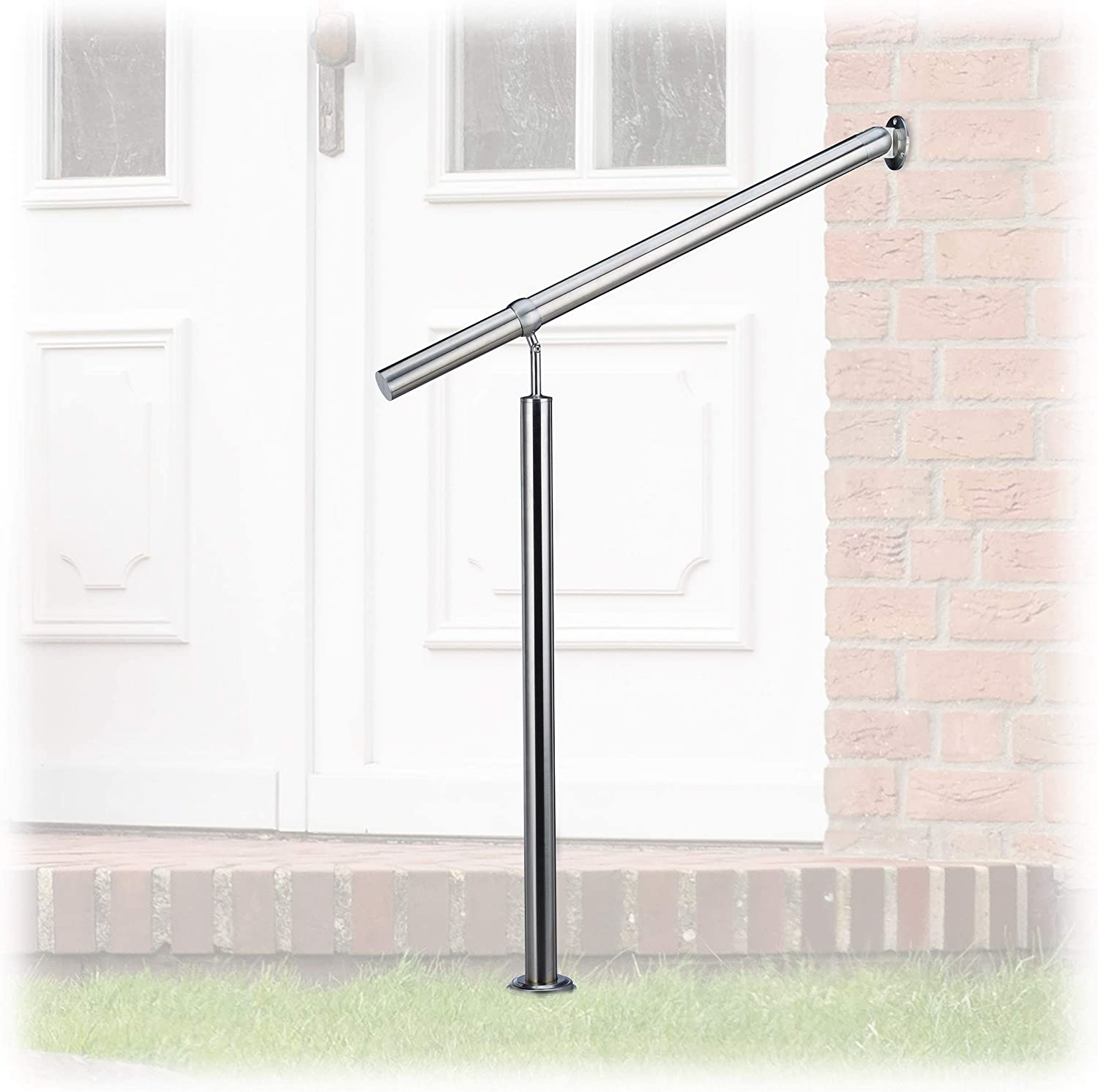 Relaxdays Stainless Steel Handrail for in-and Outdoor Use, with Wall Fittings and Metal Plugs, 80 x 90 cm, Silver