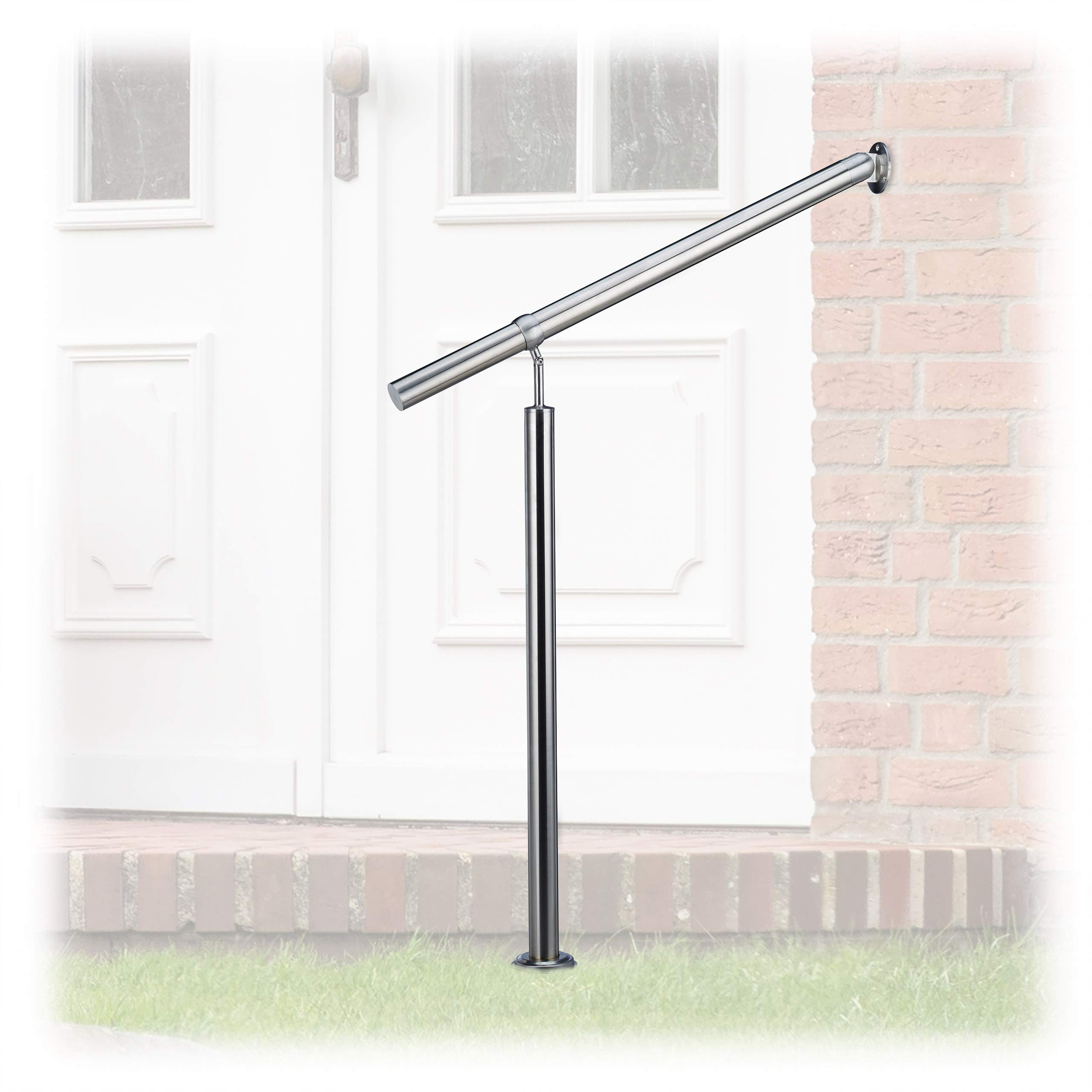 Relaxdays Stainless Steel Handrail for in-and Outdoor Use, with Wall Fittings and Metal Plugs, Silver, 80 x 90 cm by Relaxdays