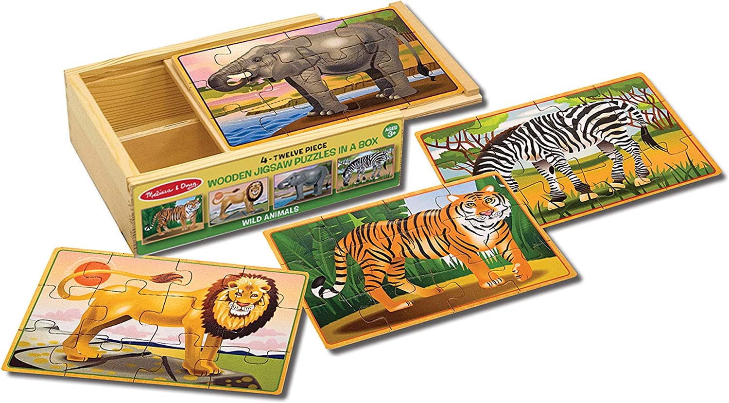 Amazon Com Melissa Doug Wooden Jigsaw Puzzles In A Box Wold Animals Melissa Doug Toys Games
