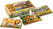 Melissa & Doug Wild Animals Jigsaw Puzzles in a Box (Four Wooden Puzzles, Beautiful Artwork, Sturdy Wooden Storage Box, 48 P