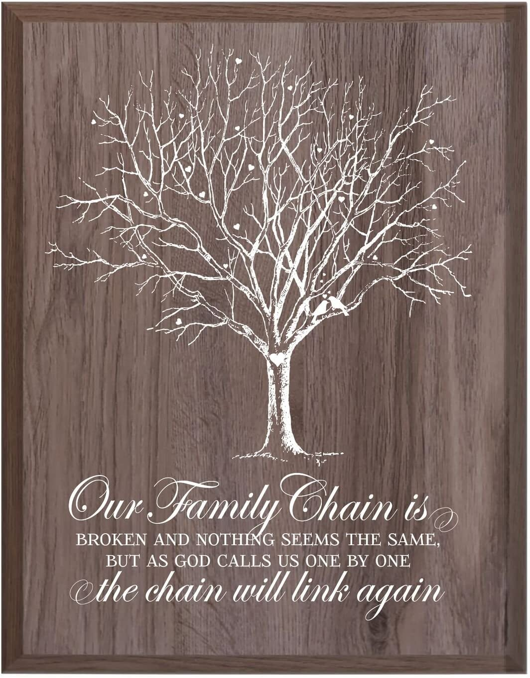 LifeSong Milestones Custom Engraved Personalized Wooden Wall Plaque Bereavement Keepsake in Remberance of Loved One Condolence Funeral Gift 12x15 Family Chain