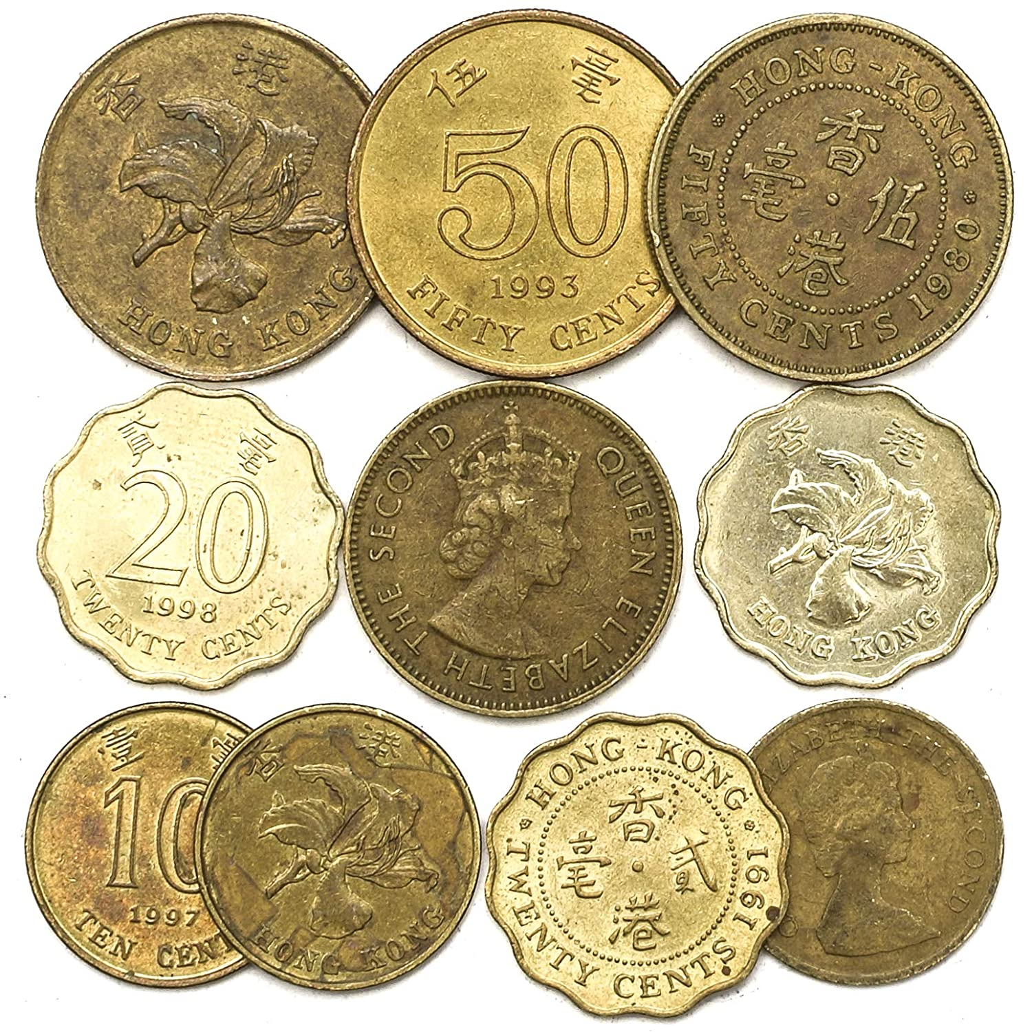 10 Old Coins from Hong Kong  Coins from Southern Asia – The Special  Administrative Region of The People's Republic of China  Collectible Coins  Cents