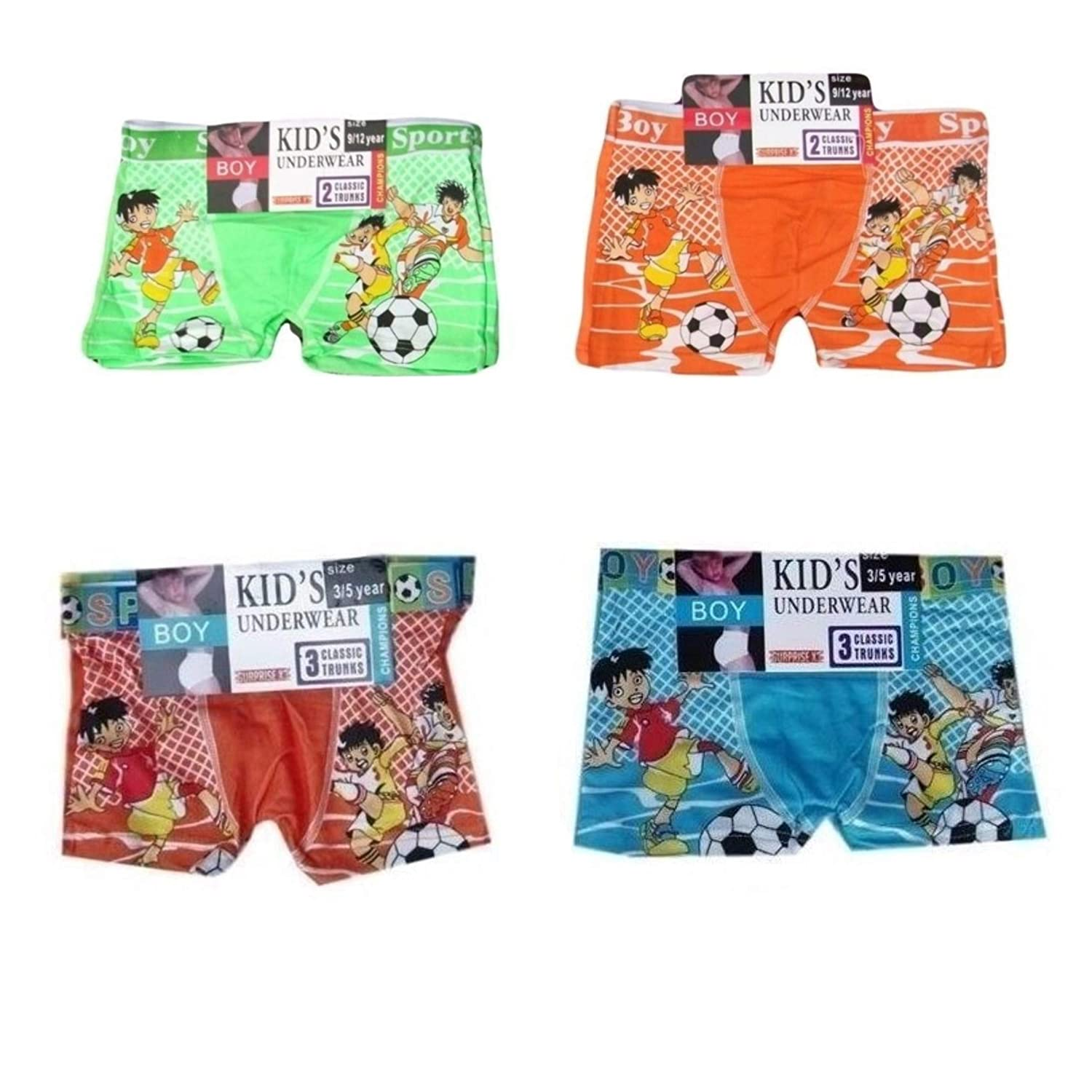 Boys 4 Pack 6//8yrs Bright Red Blue Orange Green Football Character Boxer Shorts Briefs