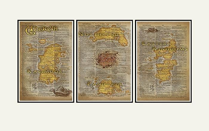 Amazon.com: World of Warcraft art, Azeroth map triptych print set ...