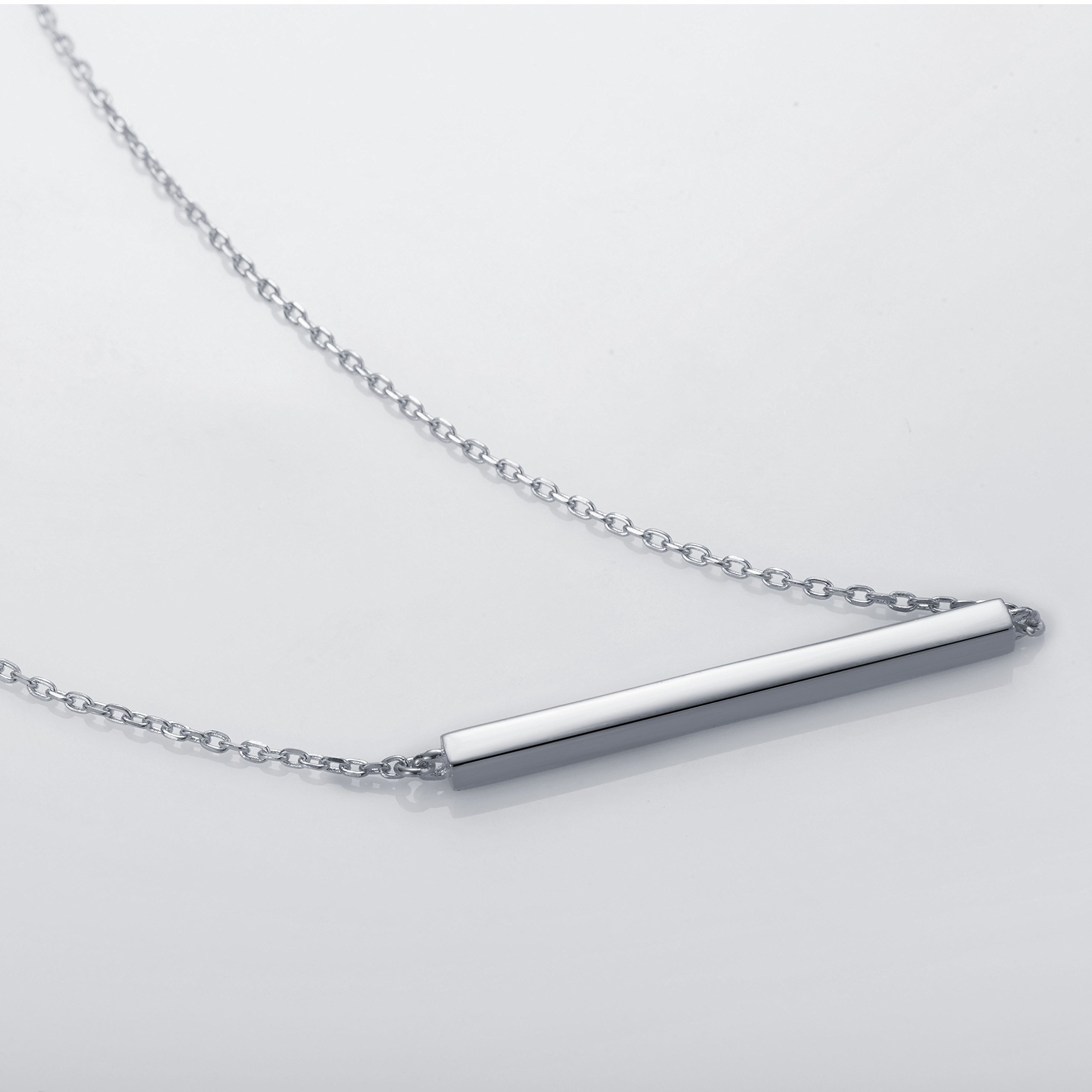 S.Leaf Bar Necklace Sterling Silver Minimalism Line Necklace Horizontal Bar Necklace (Necklace-White Gold) by S.Leaf (Image #3)