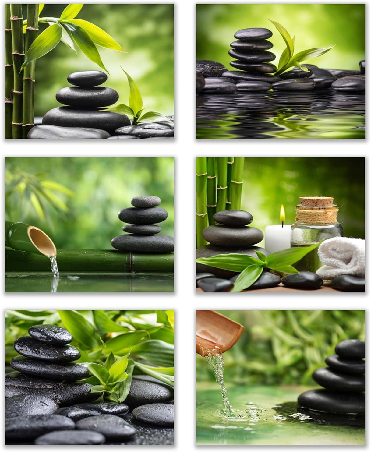 Infinity Creations Inspirational Zen/Spa Wall Photo Art: Set of 6-Relax and Motivate Beauty UNFRAMED Photo Art Prints (8