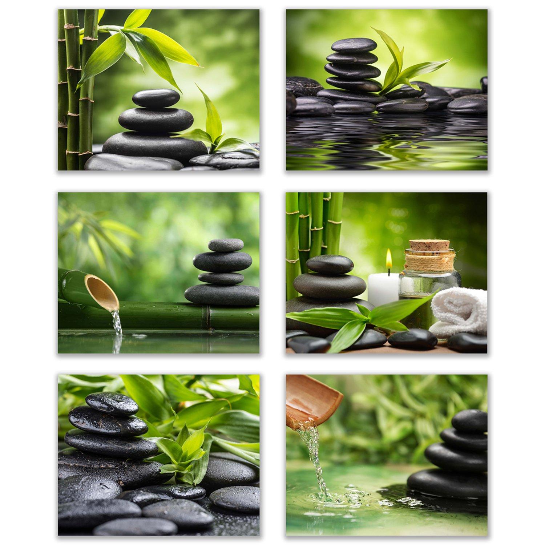 Inspirational Zen/Spa Wall Art: Set of 6-Relax and Motivate Beauty Unframed Poster Art (8''x10'')