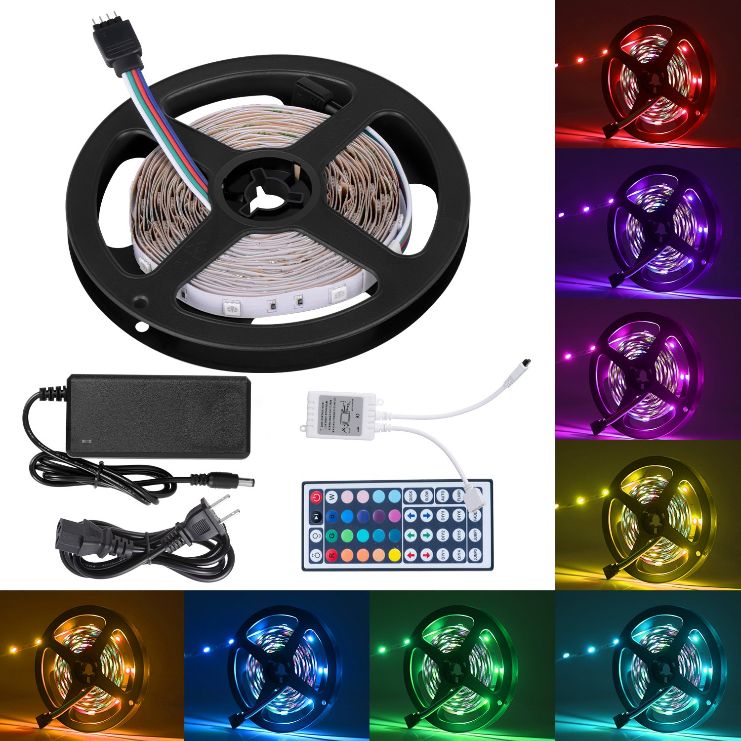 Boomile 16.4ft Flexible LED Light Strip Kit, RGB Color Changing, 150 Units 5050 LEDs Non-Waterproof, DC 12v LED Strip Lights with 44Key Remote Controller and Power Supply for Kitchen Bedroom Car Bar by Boomile