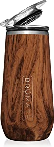BrüMate 12oz Insulated Champagne Flute With Flip-Top Lid - Made With Vacuum Insulated Stainless Steel (Walnut)