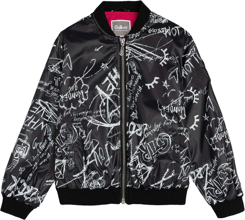 GULLIVER Girls Jacket Raincoat Casual Black Light Bomber Black for Teens 9-14 Years