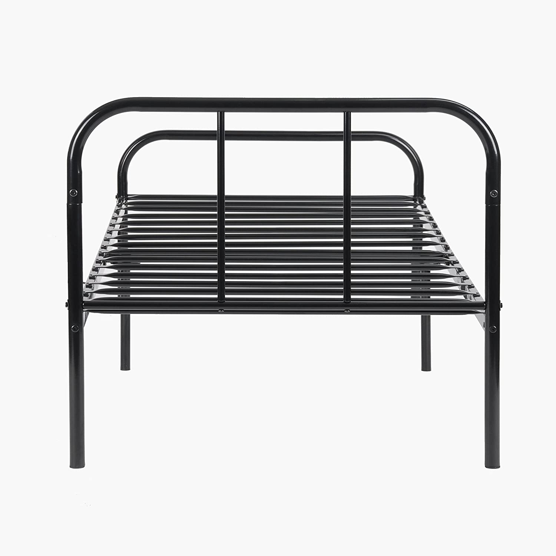 H.J WeDoo Marco de cama de metal 3ft solo ni/ño o adultos base s/ólida de bedstead con 2 cabecera Negro
