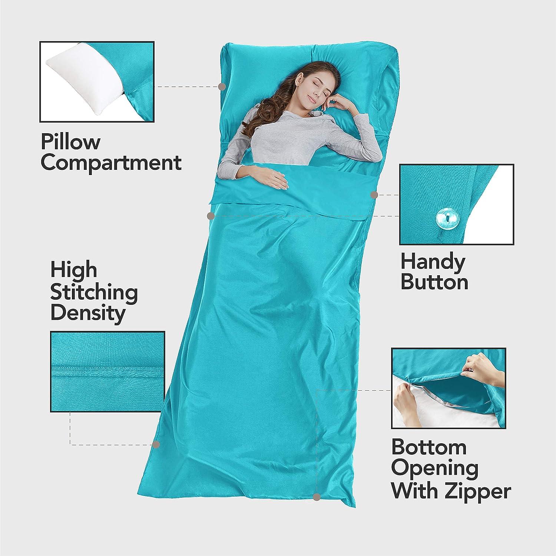 Resistente e Super Morbida con Tasche per Cuscino e Borsa Fodera per Sacco a Pelo per Campeggio Viaggio Portatile Sleeping Bag