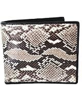 Authentic Snake Skin Men's Bifold Python Snake Natural Beige&White Wallet
