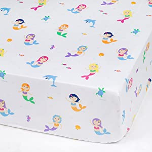 Wildkin Fitted Crib Sheet, Super Soft, Breathable Fitted Crib Sheet, Bold Patterns Coordinate with Other Room Décor, Olive Kids Design – Mermaids