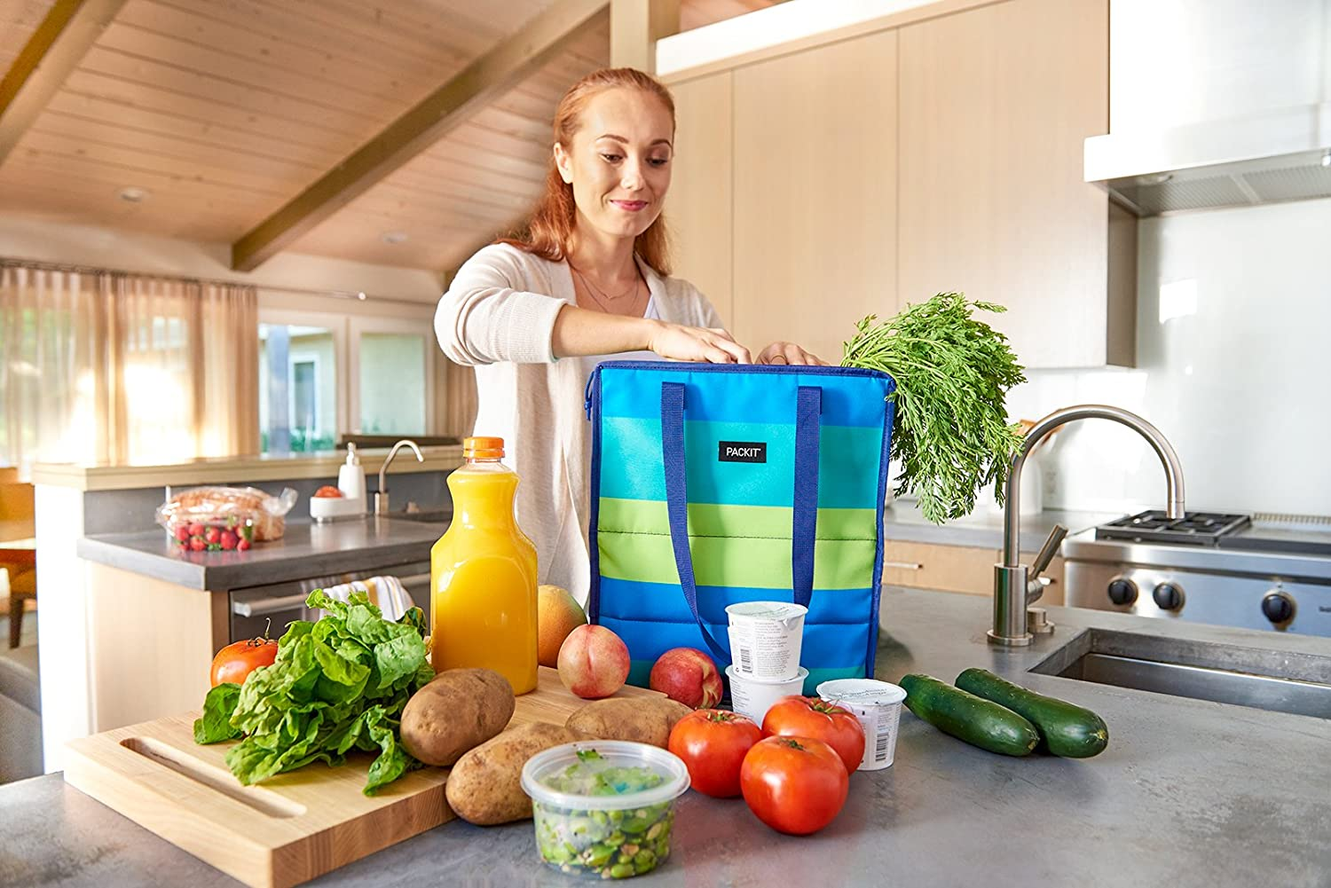 Black PackIt Freezable Grocery Shopping Bag with Zip Closure