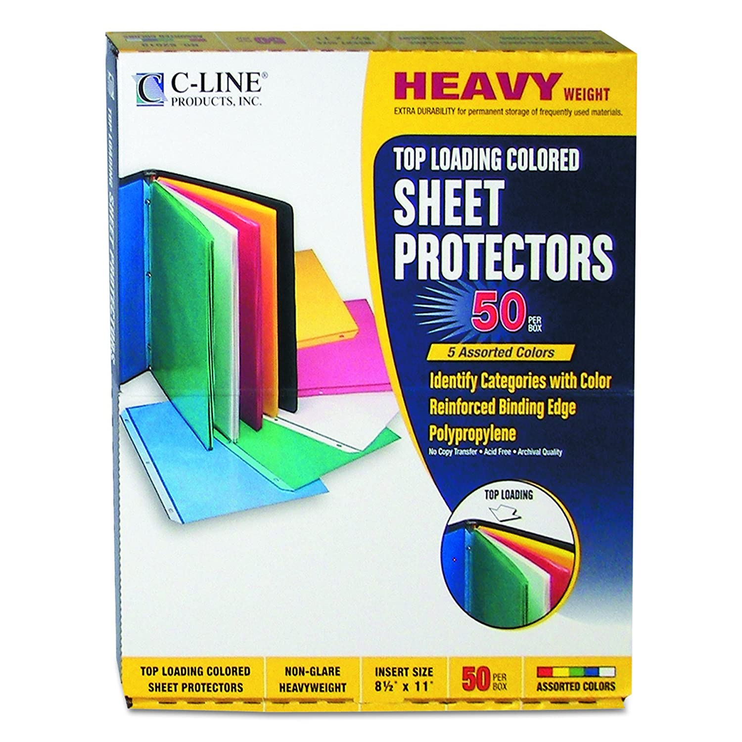 C-Line 62010 Colored Polypropylene Sheet Protector, assorted colors, 11 x 8 1/2, 50/BX - 2 x Sheet Capacity - For Letter 8.5 x 11 Sheet - 3 x Holes - Blue, Yellow, Green, Pink - Polypropylene - 50 / Box C-Line Products Inc.