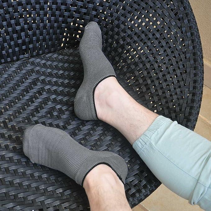 Calcetines sin mangas para hombres Corte bajo Non Slip Grip-Invisible Calcetines para Oxfords Mocasines Zapatillas Zapatos de barco Zapatos de cuero Talla ...