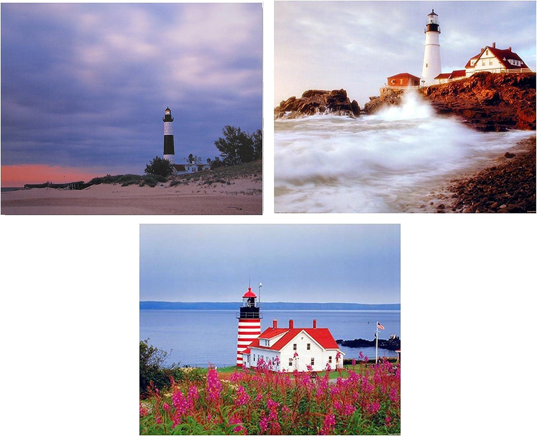 Lighthouse Portland Maine Three Set 8x10 Picture Ocean Landscape Wall Decor Art Print Posters