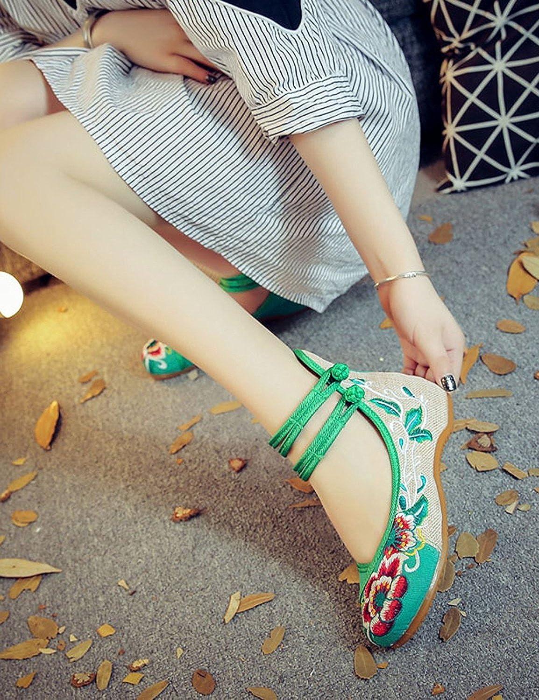 Scarpe da da Scarpe Donna Mary Jane in Tela Stile Folk con pezze Ricamate e Scarpe da Ballo da Passeggio  Verde fbc3ed